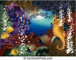 Underwater wallpaper with seahorse and fish, vector...