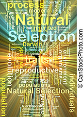 natural selection wordcloud concept illustration glowing
