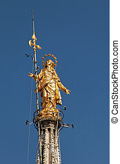 Statue of the Madonna on top of the Milan Cathedral - 14 ft...