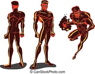 Atom Man - This vector illustration of a super hero has an...