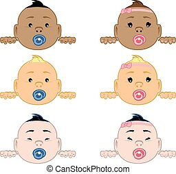 Baby Peak - Illustration of babies of different ethnicities...