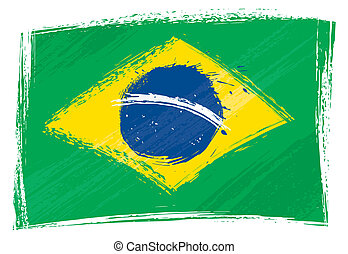 Grunge Brazil flag - Brazil national flag created in grunge...