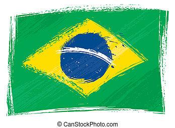 Grunge Brazil flag - Brazil national flag created in grunge...