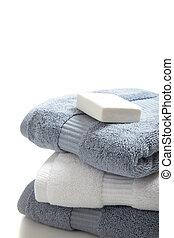 blanco, azul, Toallas, jabón, blanco