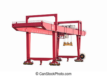 gantry container crane isolated on white,  port machinery