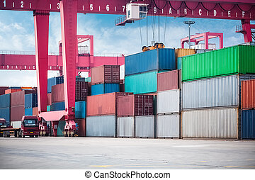 container depot for handling under gantry container crane