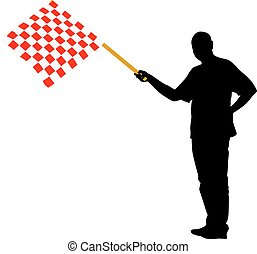 Man waving at the finish of the red white, checkered flag. Vecto