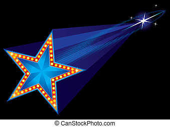 Coming star - Falling star shape neon at night sky