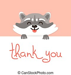 Cute raccoon says thank you. Vector illustration.