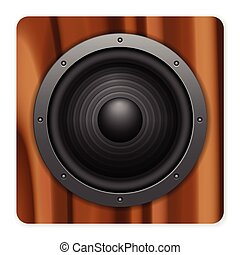 wooden loudspeaker icon