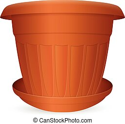 Flowerpot with saucer on a white background Vector...