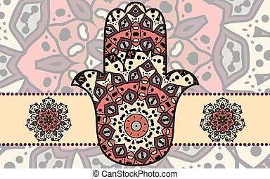 Hamsa card - Vector illustration of card with hamsa and...
