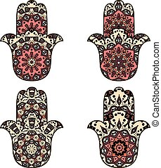 Set of hamsa - Drawings of four hamsot in geometric style