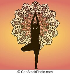 Mandala Yogi - Drawing of a silhouette of yogi on mandala