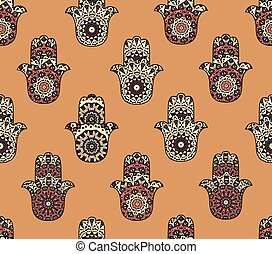 Seamless pattern hamsa - Drawing of seamless pattern with...
