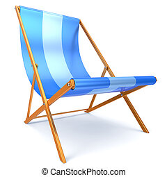 Beach chair blue chaise longue nobody relaxation abstract -...