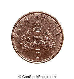 Retro look Five pence coin - Vintage looking Pound coin - 5...