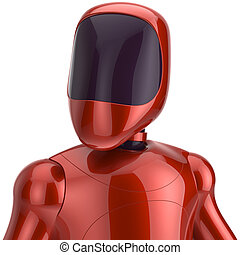 Red robot futuristic cyborg artificial bot android avatar...