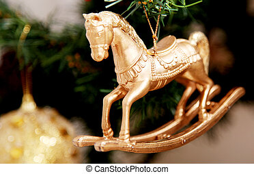 Horse - Gold horse ornament on christmas tree Xmas image