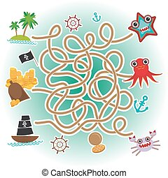 sea animals, boats pirates. sea objects collection labyrinth game for Preschool Children. Vector