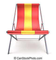 Beach chair red yellow chaise longue nobody relaxation icon...