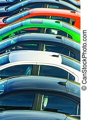 Car Sales Business. Car Dealership Stock Lot. Colorful Cars...