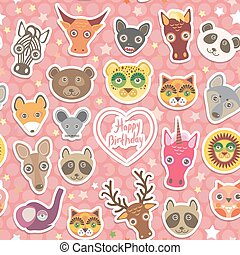 Seamless pattern Funny Animals White heart on pink Polka dot background. Happy birthday. Vector