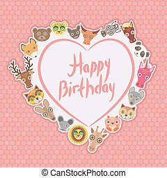 Funny Animals Happy birthday. White heart on pink Polka dot background. Vector
