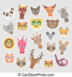 Sticker set of funny animals muzzle. Vector