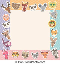 Set of funny animals muzzle square frame template card. background with Polka dot. Vector