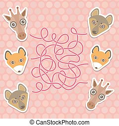 funny giraffe, fox, wolf labyrinth game for Preschool...
