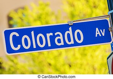 Colorado Avenue Street Sign on a Pole. Colorado Concept.