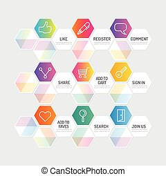 Modern geometric banner button with social icon design...