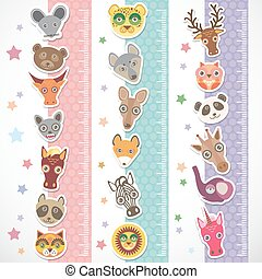 Children height meter wall Sticker set. funny animals muzzle...