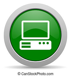 computer green glossy web icon