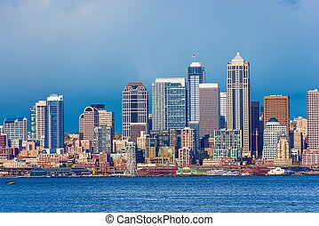 Downtown Seattle Skyline. City of Seattle, Washington,...