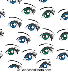 Eyes on white background seamless pattern. Vector