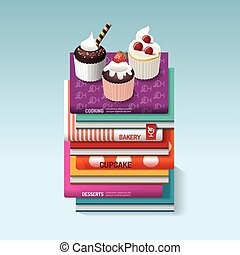 food cook books idea cupcake concept design Vector...
