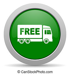 free delivery green glossy web icon