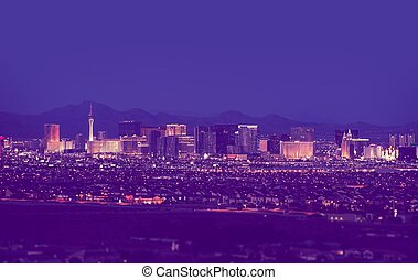 Las Vegas Cityscape at Night in Vintage Purple Color Grading...