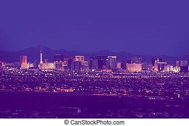 Las, Vegas, Cityscape, en, noche,
