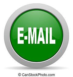 email, verde, brillante, tela, icono,
