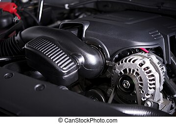 Modern Car Alternator and Engine - Modern Car Alternator and...