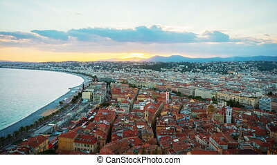 Coastline of Nice at sunset, France, 4k UHD timelapse