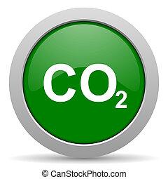 tela, verde, brillante, dióxido,  carbón, icono