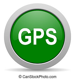 GPS, verde, brillante, tela, icono,