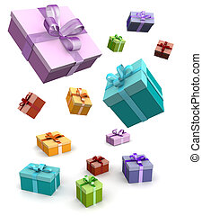 Colorful gift box falling in white background 3d...