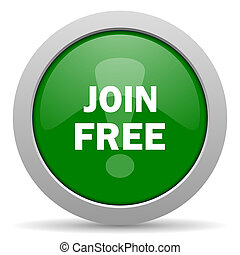 join free green glossy web icon