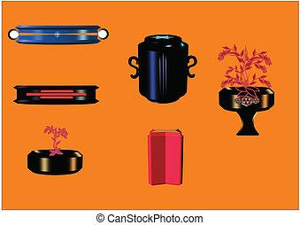 3d vase set with floral