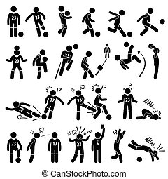Football Soccer Footballer Actions - A set of stickman...